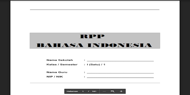 Contoh RPP Bahasa Indonesia SD Kelas 1