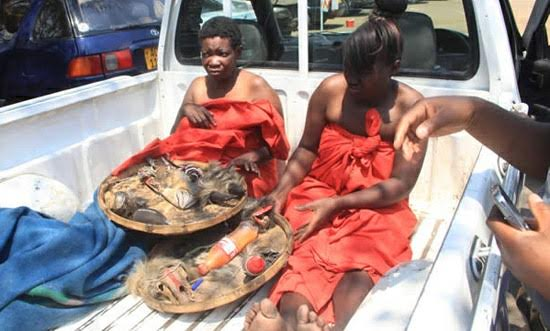 Two alleged female witches caught naked with fetish