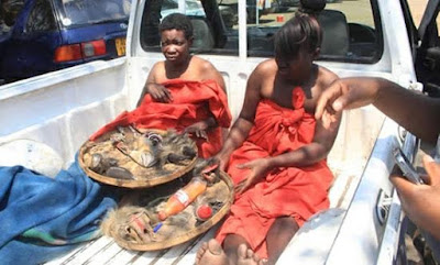 Two alleged female 'witches' caught naked with fetish items in Zimbabwe (Video)