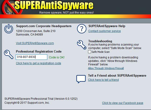 Superantispyware pro key   SUPERAntiSpyware Professional 6 0 1264 +