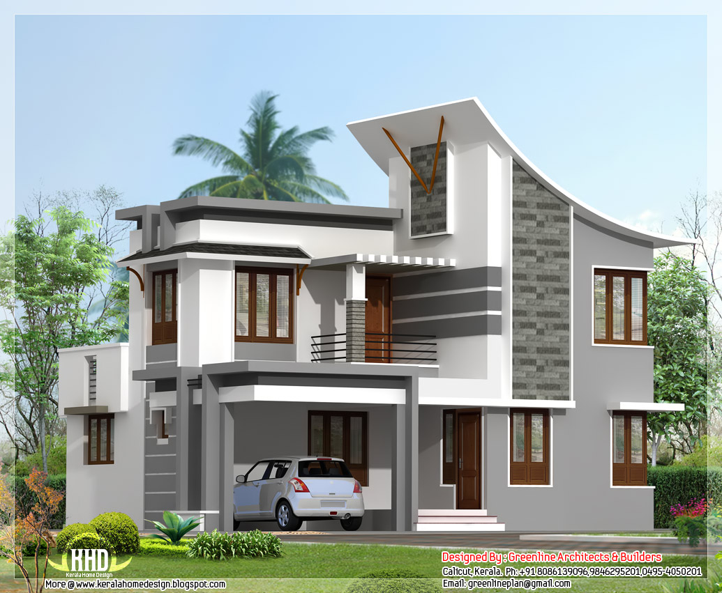 Modern 3 bedroom house in 1880 kerala home for Small modern house plans two floors