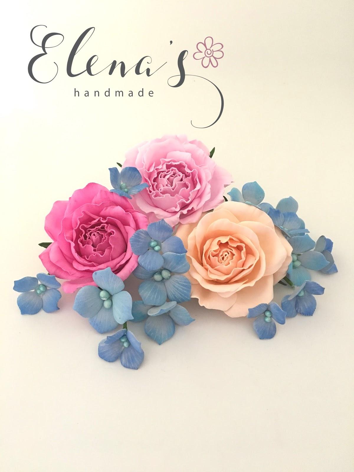 Elenas Handmade Forget Me Not Flowers Roses Arrangement
