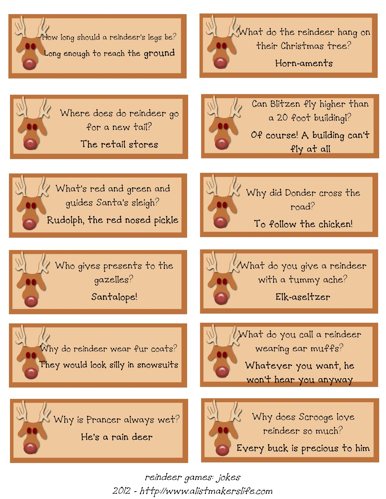A List Maker S Life Reindeer Riddles Free Printable