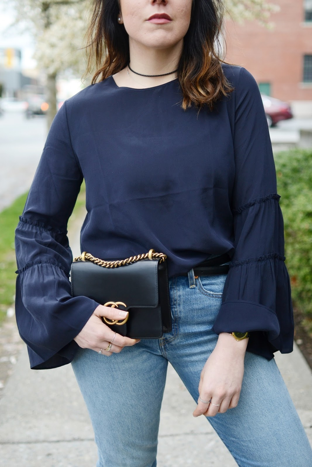 Ann Taylor flare sleeve silk blouse Gucci Marmont bag vancouver blogger outfit social