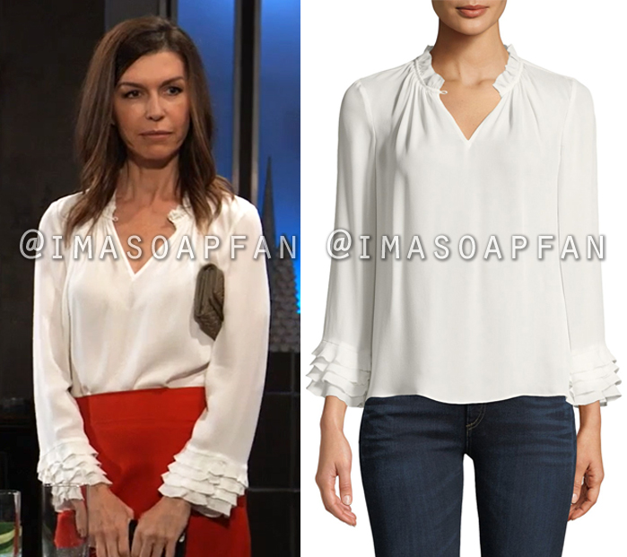 e3e7f4ec2e892 Anna Devane s White Silk Georgette Ruffled Blouse - General Hospital ...