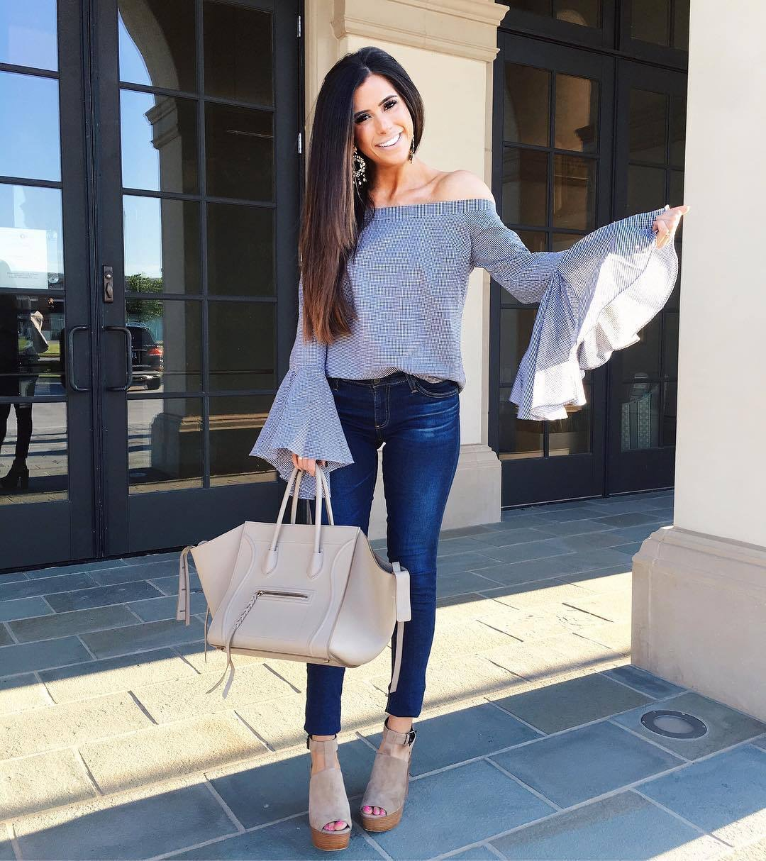 emily gemma, the sweetest thing blog, chic wish bell sleeve gingham top, AG jeans, AG super skinny jeans review, celine phantom beige, fashion blogger, pinterest outfit idea fall