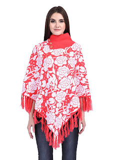Women Ladies Girls Winter Wear Flower design Woolen Poncho