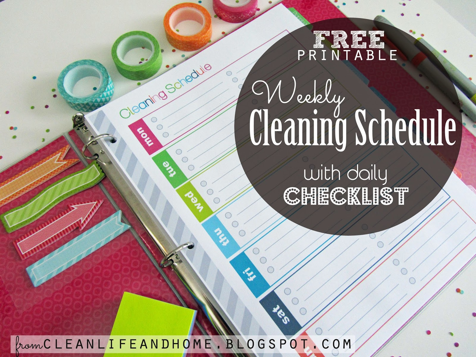 Clean Life And Home Free Printable Weekly Cleaning