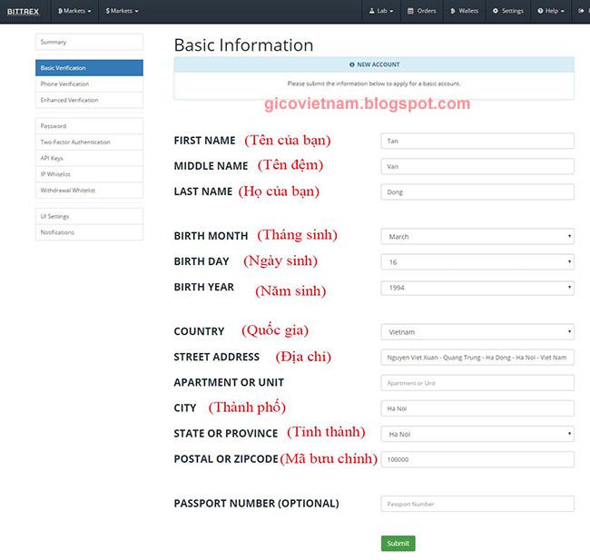 Nhập thông tin cơ bản trên Bittrex