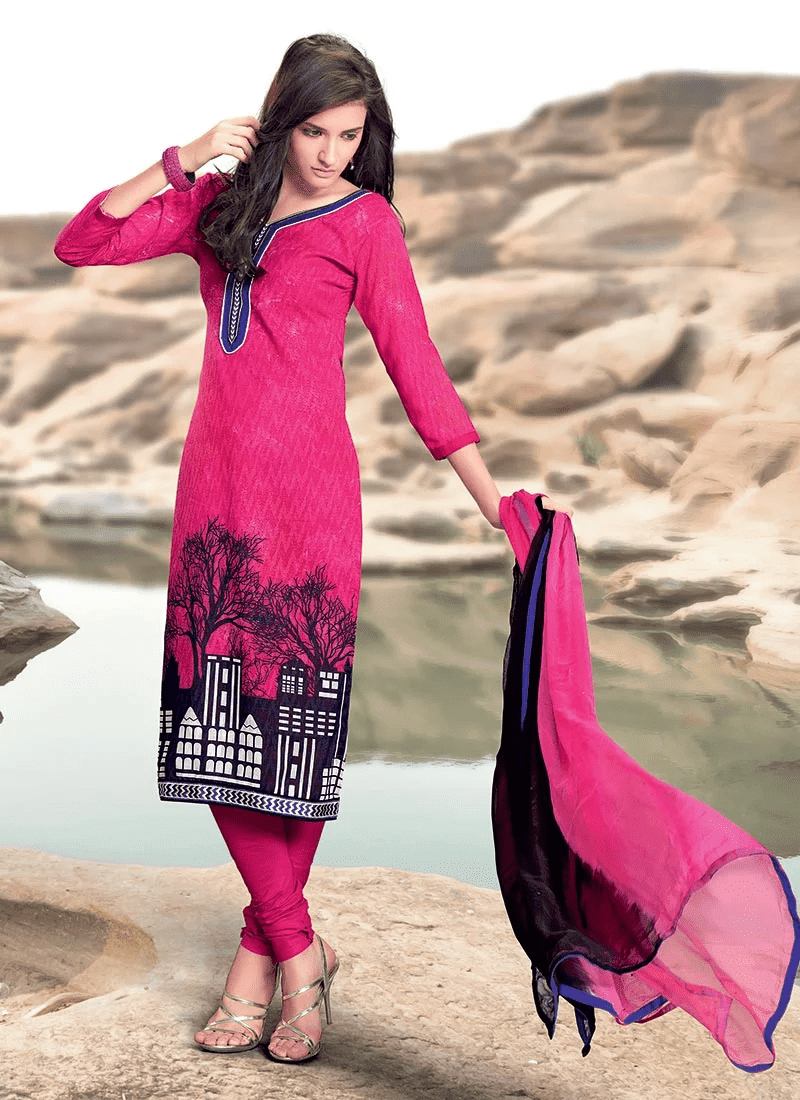Adorning Printed Cotton Jacquard Churidar Suit