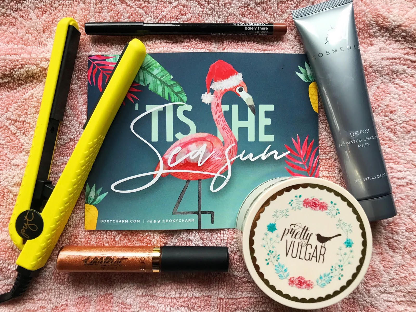 Priya the Blog, Nashville beauty blog, Nashville beauty blogger, Boxycharm, Boxycharm review, Boxycharm December 2018, beauty review, subscription service, Tarte, PYT, Bodyography, Cosmedix, Pretty Vulgar, PYT Mini Ceramic Styler, Tarte Shimmer Lip Paint, Bodyography Lip Pencil in Barely There, Pretty Vulgar The Powder Room in Matte About It, Cosmedix Activated Charcoal Mask