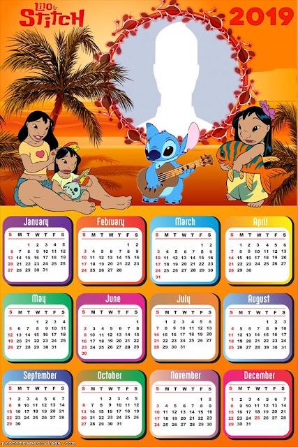Calendario 2019 de Lilo y Stitch para Imprimir Gratis.