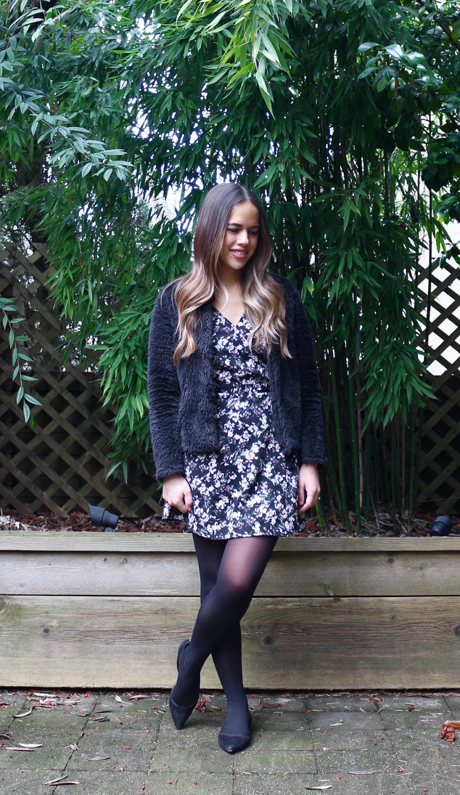 Jules in Flats - Floral Wrap Mini Dress + Faux Fur Bomber Jacket (Business Casual Winter Workwear on a Budget)