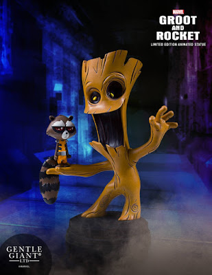 Guardians of the Galaxy Rocket Raccoon & Groot Animated Marvel Mini Statue by Skottie Young & Gentle Giant