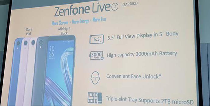 Smartphone Entry-Level ASUS ZenFone Live (L1) ZA550KL