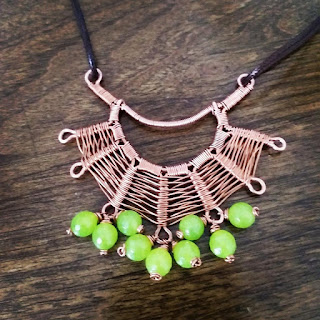 Copper Creations Spiders Web Wire Weave Pendant with Lemon Green Opal Beads