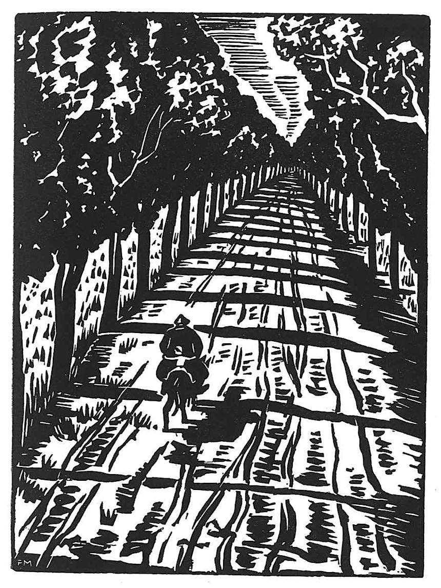 Franz Masereel woodcut, country road