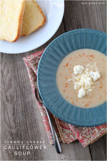 This Cheesy Cauliflower Soup is so creamy and delicious and good for you too! You won't believe how tasty this simple soup is! LoveGrowsWild.com
