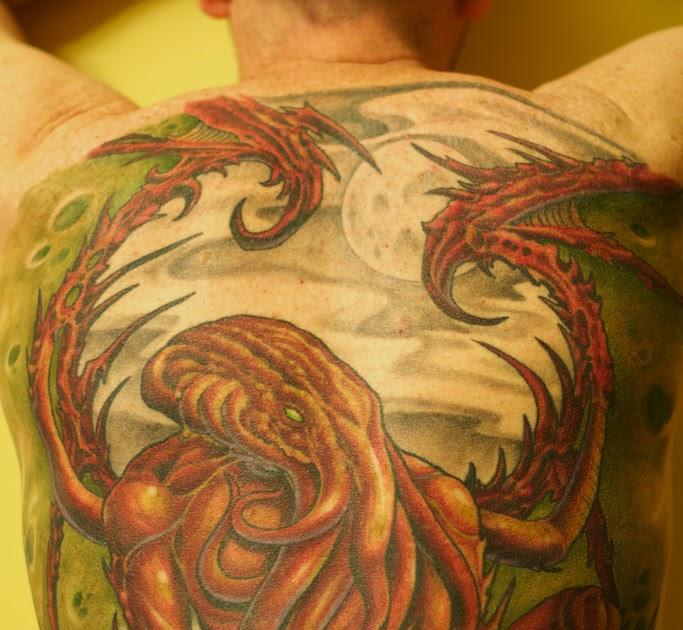 Crazy Chameleon Tattoo: Blacklight Tattoos: Cthulhu Tattoo