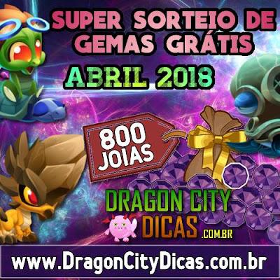 Super Sorteio de 800 Joias Grátis - Abril 2018