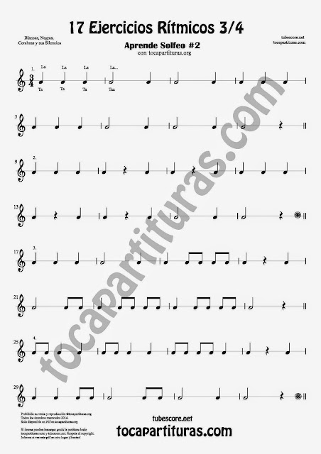 1 17 Ejercicios Rítmicos para Aprender Solfeo Negras, corcheas, blancas y sus Silencios Easy Rithm Sheet Music for quarter notes, half notes, 1/8 notes and silences