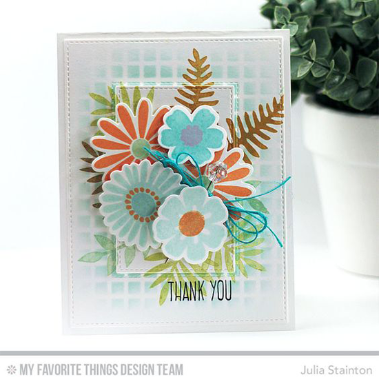 Handmade card from Julia Stainton featuring Lisa Johnson Designs Whimsical Greetings stamp set, Large Desert Bouquet stamp set and Die-namics,  Inside & Out Stitched Rectangle STAX and Blueprints 13 Die-namics #mftstamps
