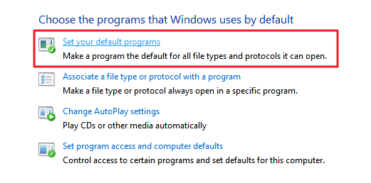 set your default browser in Windows 7 / 8