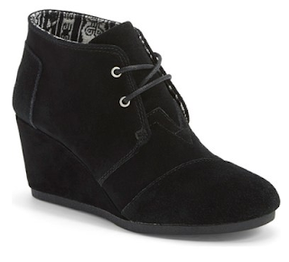 toms black lace up wedge bootie