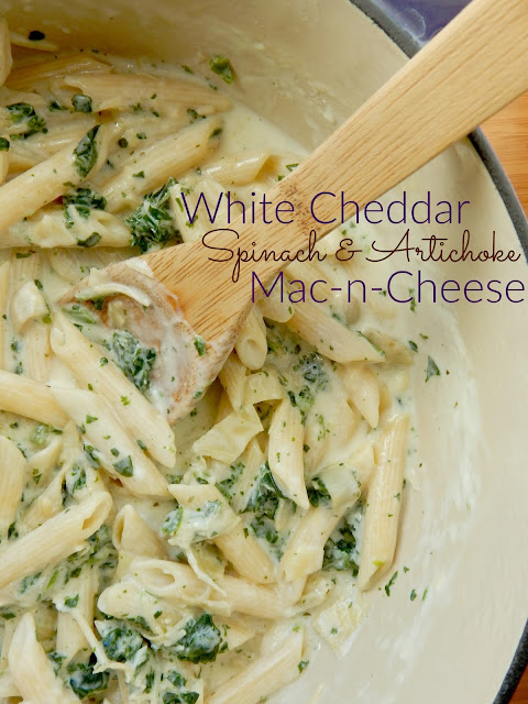 white cheddar spinach and artichoke mac-n-cheese (sweetandsavoryfood.com)