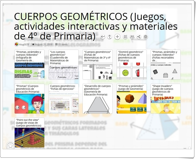 """""""11 Juegos, actividades interactivas y materiales para el estudio de los CUERPOS GEOMÉTRICOS en 4º de Primaria"""""""