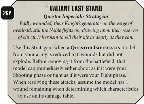 Last Stand Estratagemas Caballeros Imperiales