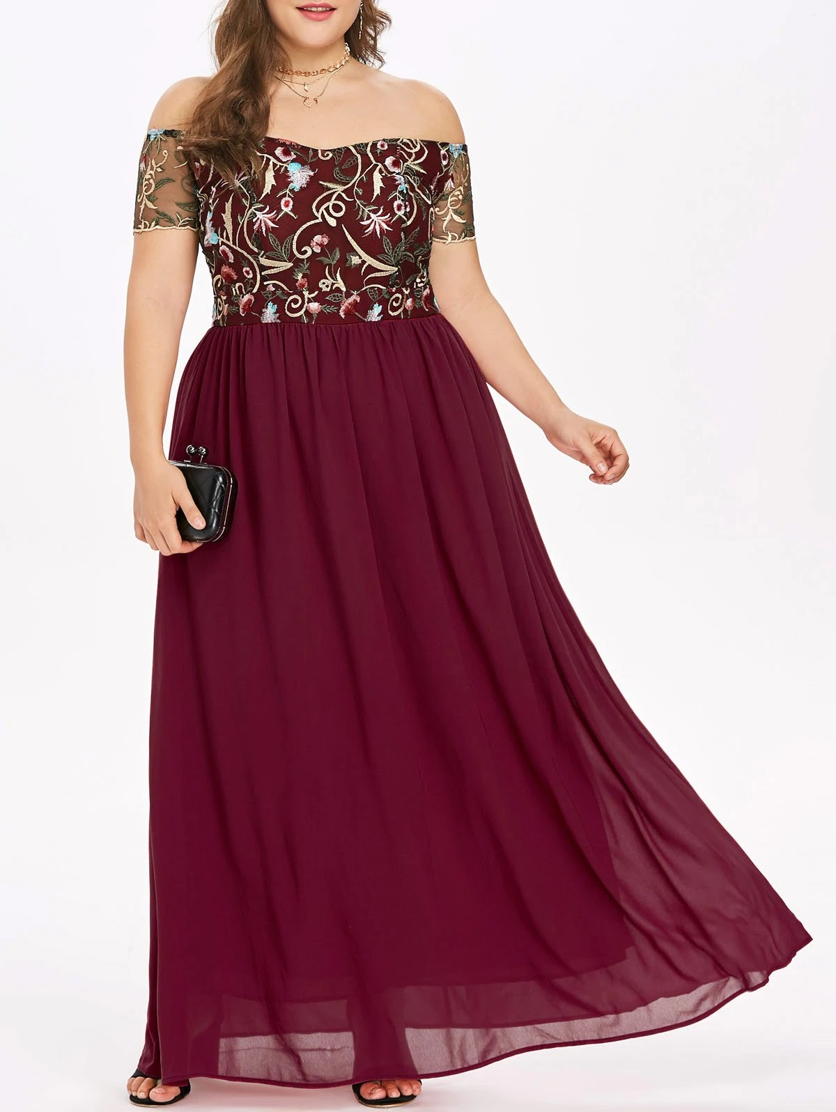 Elastic Waist Plus Size Embroidery Maxi Dress