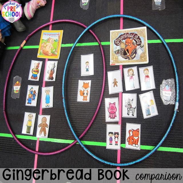 Fun gingerbread book comparison activities for your preschool, pre-k, tk, and kindergarten students