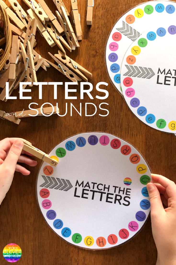 Letter and Initial Sound Printable Wheels - just print and add clothe pegs! Perfect for building up fine motor skills while learning upper and lowercase letters and beginning letter sounds   you clever monkey