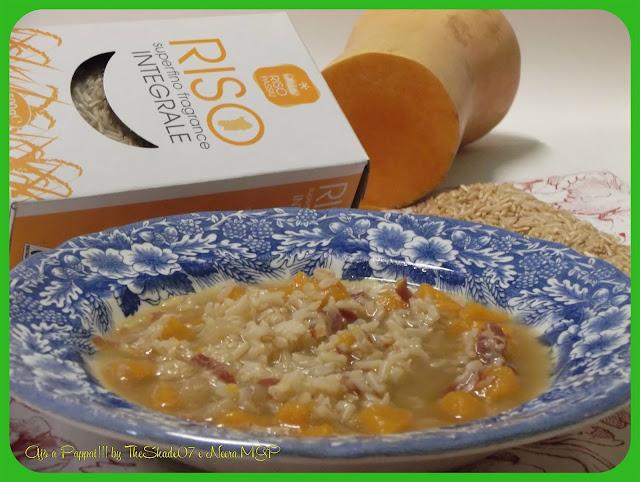 Collaborazione. Minestra di riso integrale e zucca, realizzata con il riso integrale superfino dell'Azienda Agricola Passiu di Oristano.