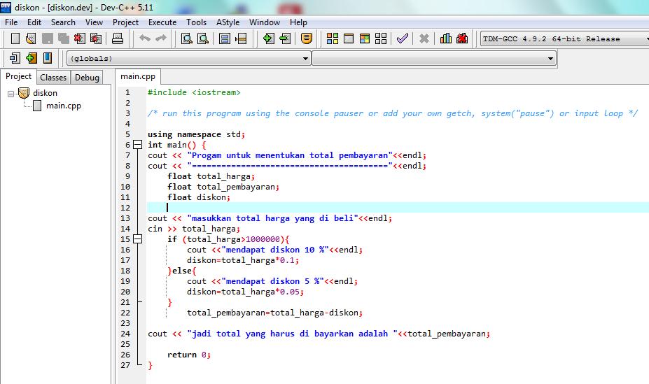 Program C++ Menghitung Total Pembayaran dengan Diskon - Rizka Code