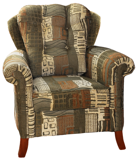 A modern wingback chair with contemporary design, a funky patterned upholstery, and curved wood legs.