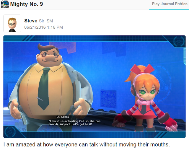 Nintendo Wii U Mighty No. 9 Miiverse no lip syncing moving mouths Dr. Sanda Call