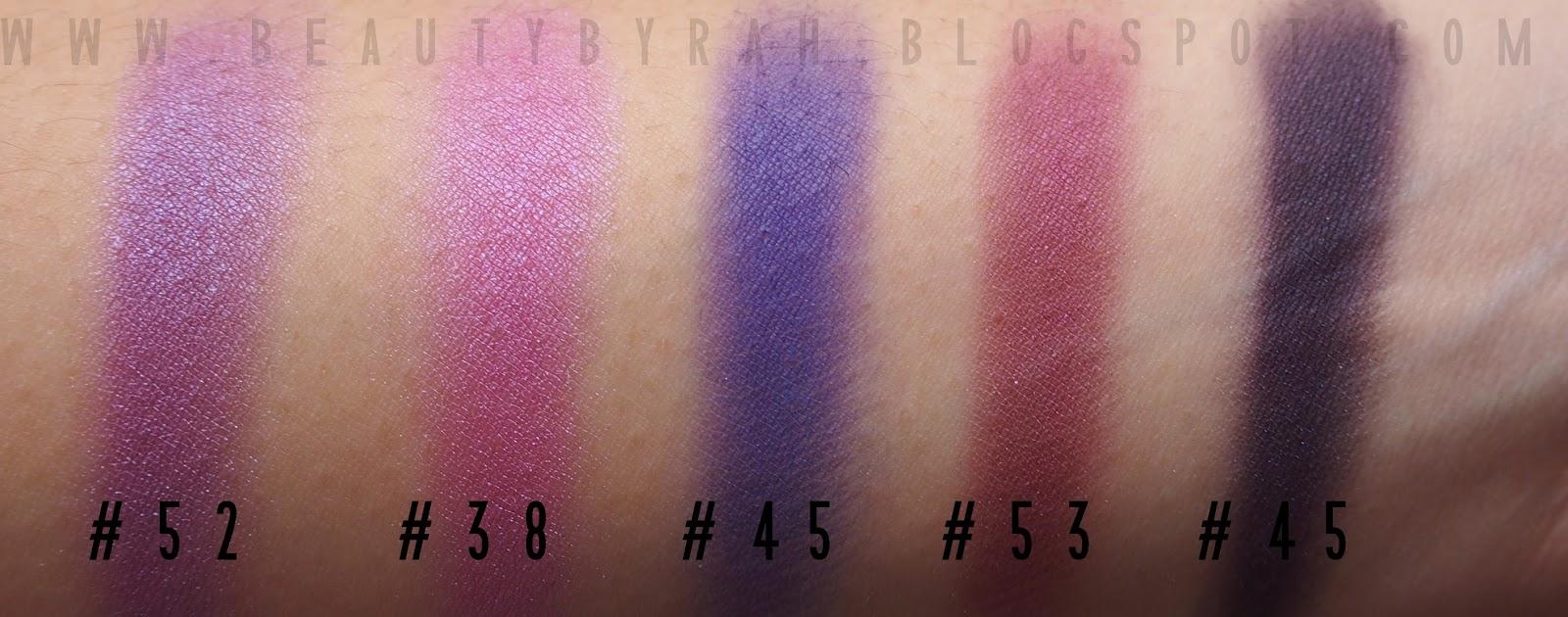 Morphe brushes single eyeshadow swatches purples