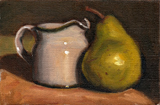 Oil painting of a small white porcelain milk jug beside a green pear.