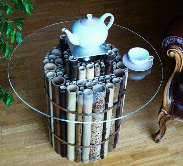 Tatakan meja dari bambu