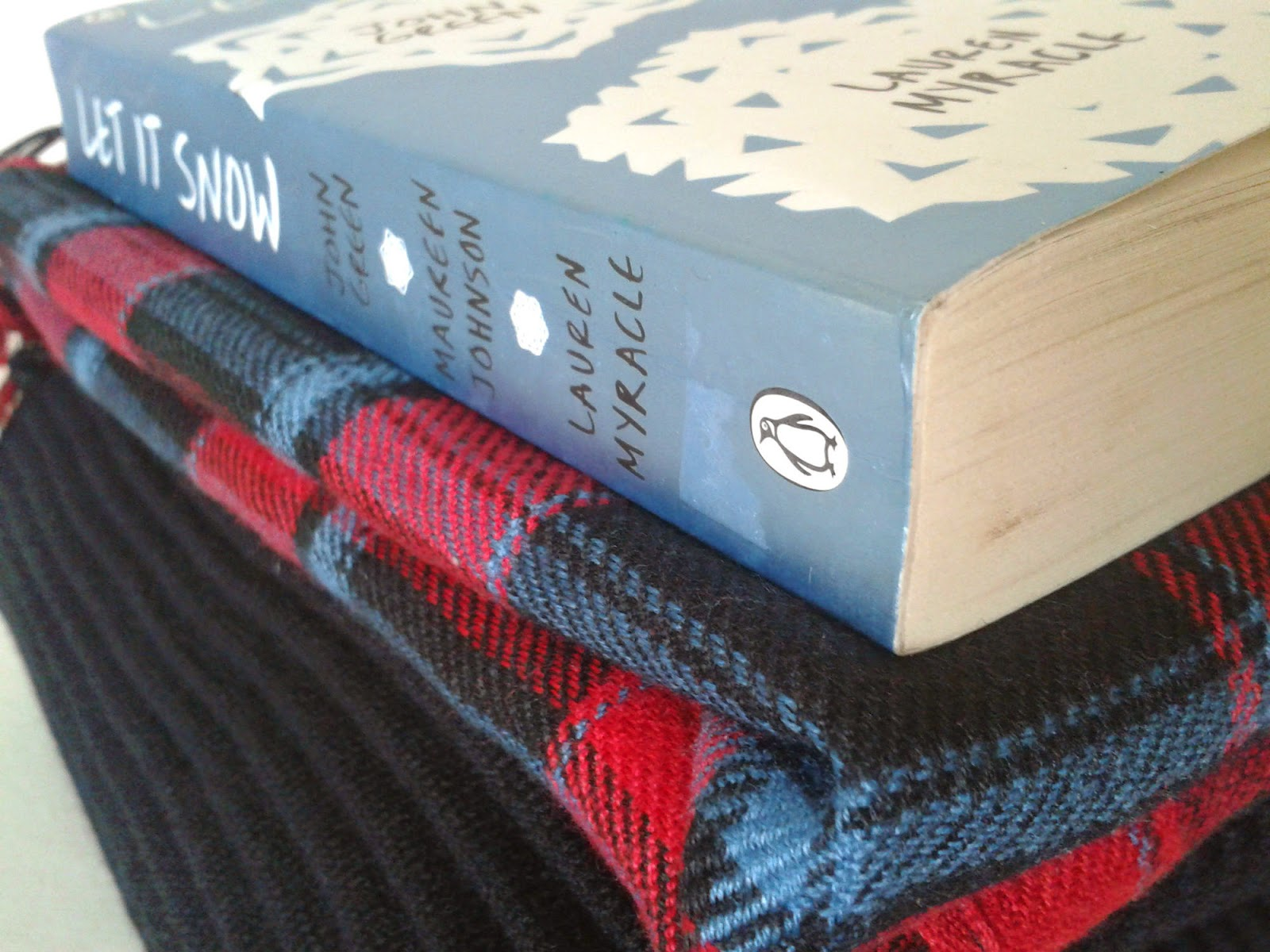 A stack made up of a black ripped jumper, red and blue checkered shirt and a book