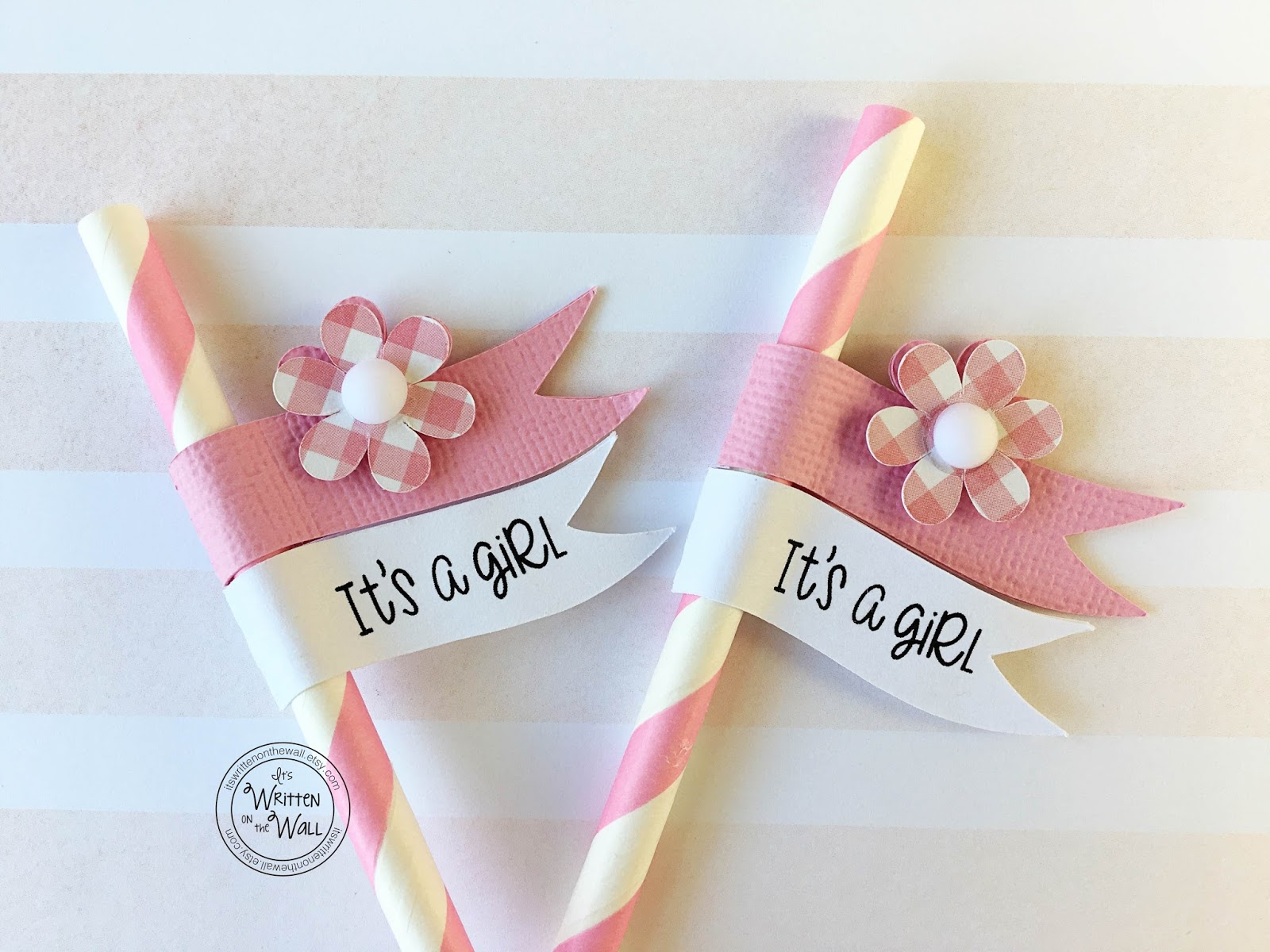 It s Written on the Wall Baby Girl Baby Shower Straws and Straw