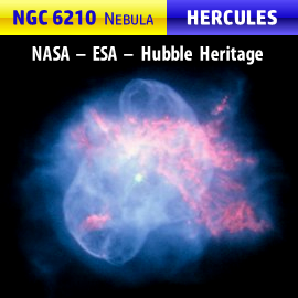 NGC 6210 planetary nebula, located about 6,500 light years away in the southern section of Hercules