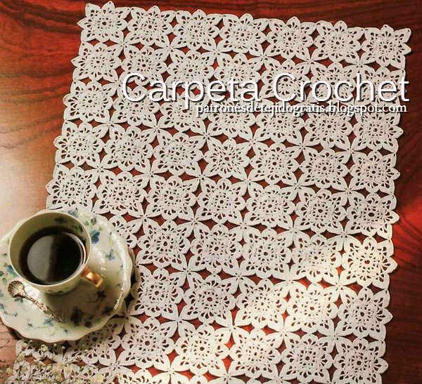 Carpeta Ganchillo Rectangular de Motivos / Esquema DIY | Patrones ...