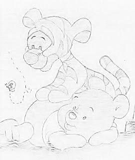 desenho do ursinho pooh e tigrão para pintar