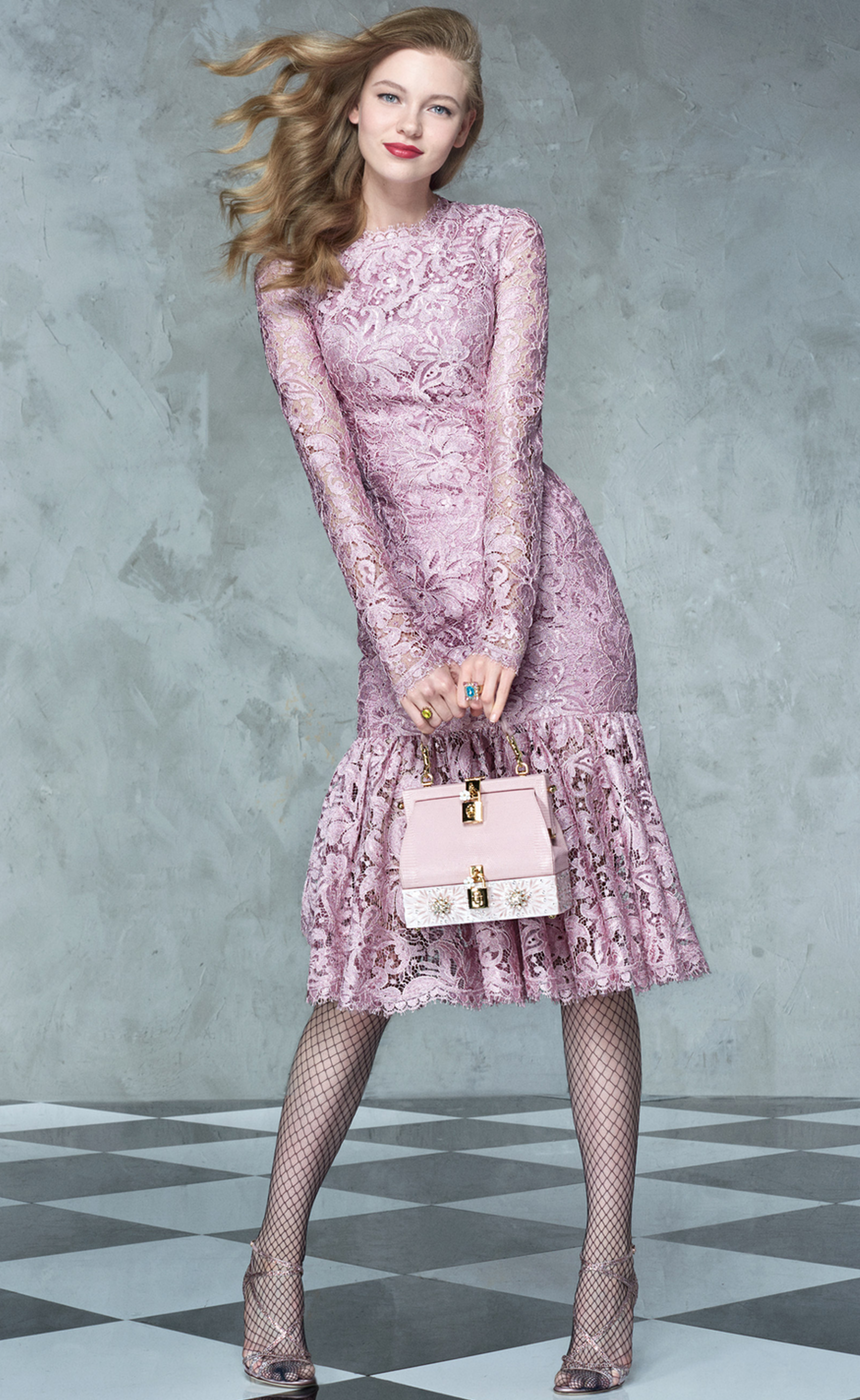 DOLCE & GABBANA Lace Peplum Dress in Pink
