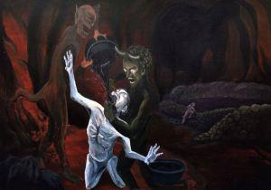 sinner drinking acid in hell