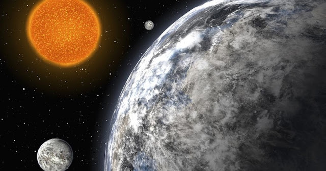 An artist's conception of a system with three super-Earth exoplanets, courtesy of ESO.