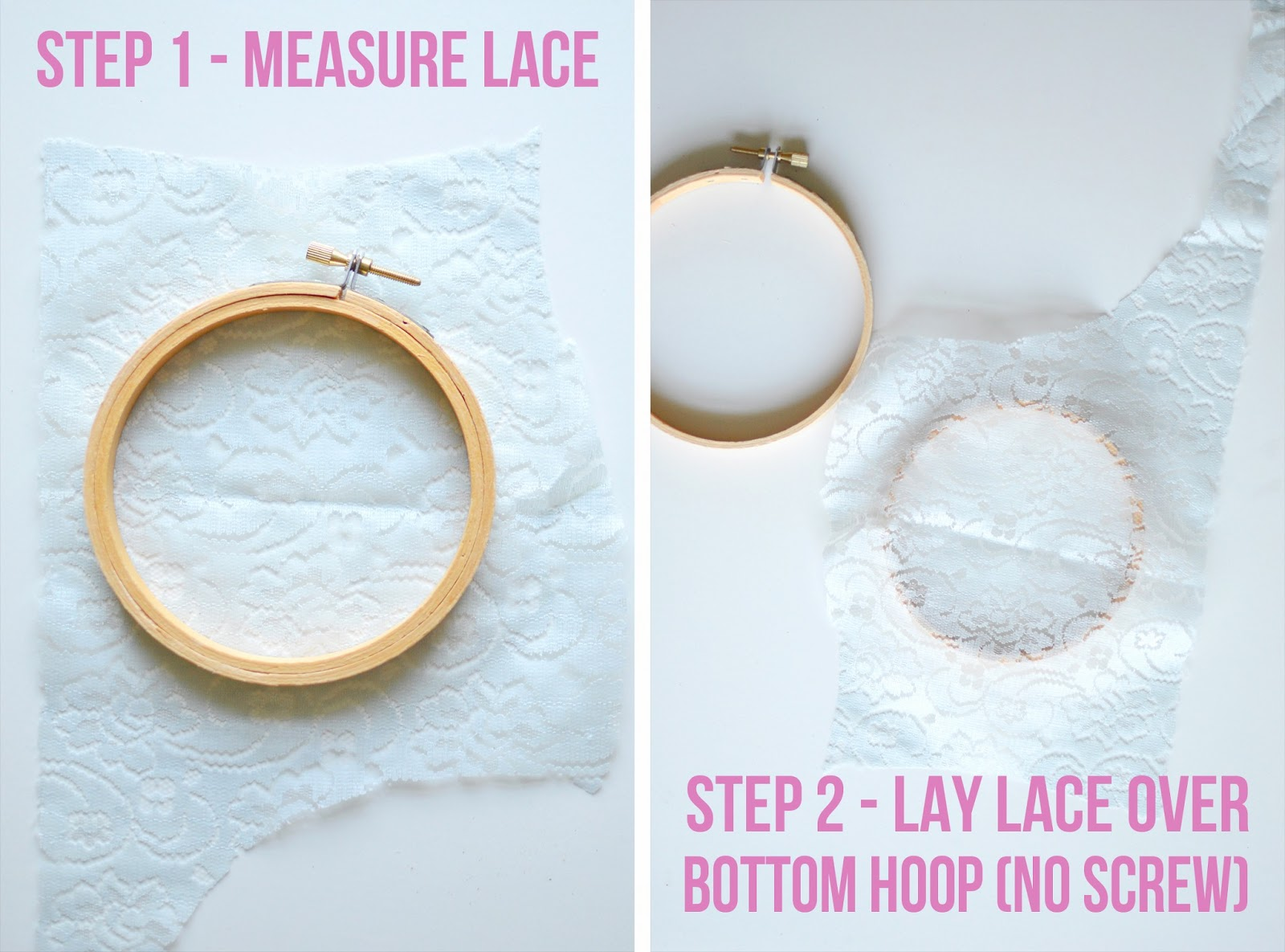 DIY Lace Embroidery Hoops at A Nest for All Seasons